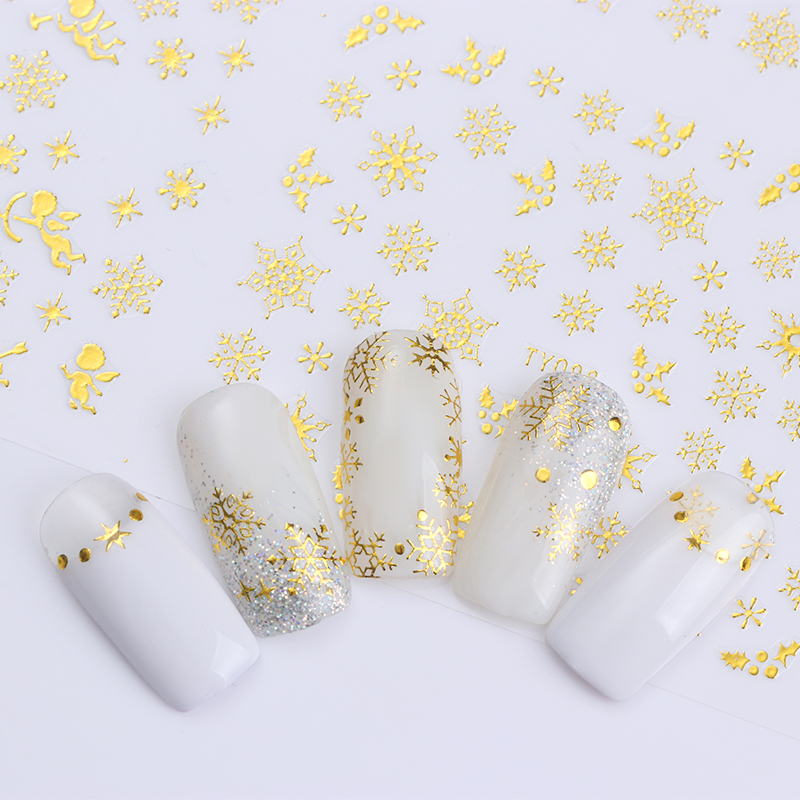 Image 2 - 1 Big Sheet Christmas Snowflake 3D Nail Sticker Santa Claus Deer Pattern Adhesive Transfer Sticker Manicure Nail Art Decals-in Stickers & Decals from Beauty & Health
