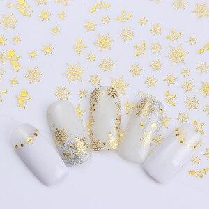 Image 2 - 1 Grote Vel Sneeuwvlok 3D Nail Sticker Kerstman Herten Patroon Lijm Transfer Sticker Nail Art Decals