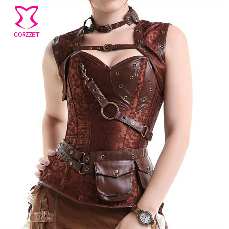 Corzzet Waist Slimming Corset Steel Boned Brown Steampunk Corset Plus Size Jacket &Pocket Belt Burlesque Outfits Gothic Clothing