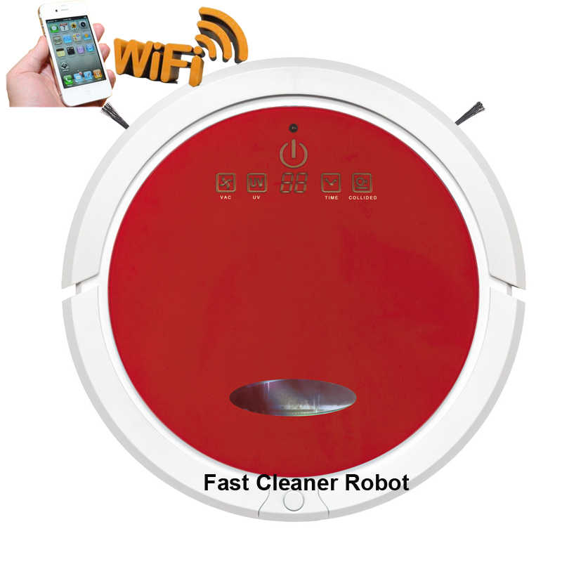 Бесплатный налог в Корею, Таиланд, Сингапур Роботизированный пылесос Швабра очиститель для домашних волос Wifi подключен, резервуар для воды