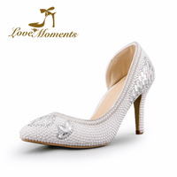 Mulher Sexy de Salto Alto Fino Bombas branco/marfim/vermelho sapatos de casamento vestido sapatos Delicados sapatos de pérolas de cristal Senhoras Apontou sapatos dedo do pé