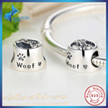 Hot Sell Sterling 925 Silver Woof Paw Prints and Bone Bead Charms Fit Bracelet & Necklace