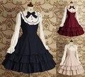 2017 Красивая Gothic Lolita dress длинным рукавом shirtdress для женщин Косплей костюмы Ретро ПЛАТЬЯ