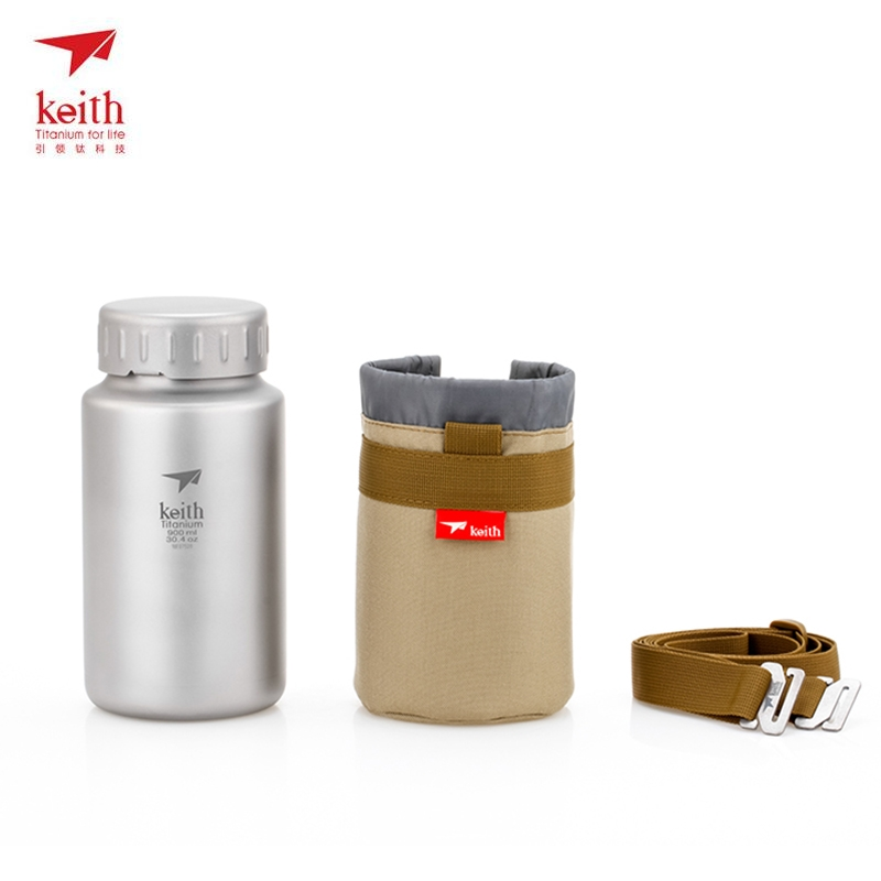 Keith Titanium Bottle Large Capacity Non-threaded Wide Mouth Kettle For Picnic Hiking Travel With Kettle Bag 900ml Ti3035 keith ti5338 ultralight titanium bowl with large capacity 900ml