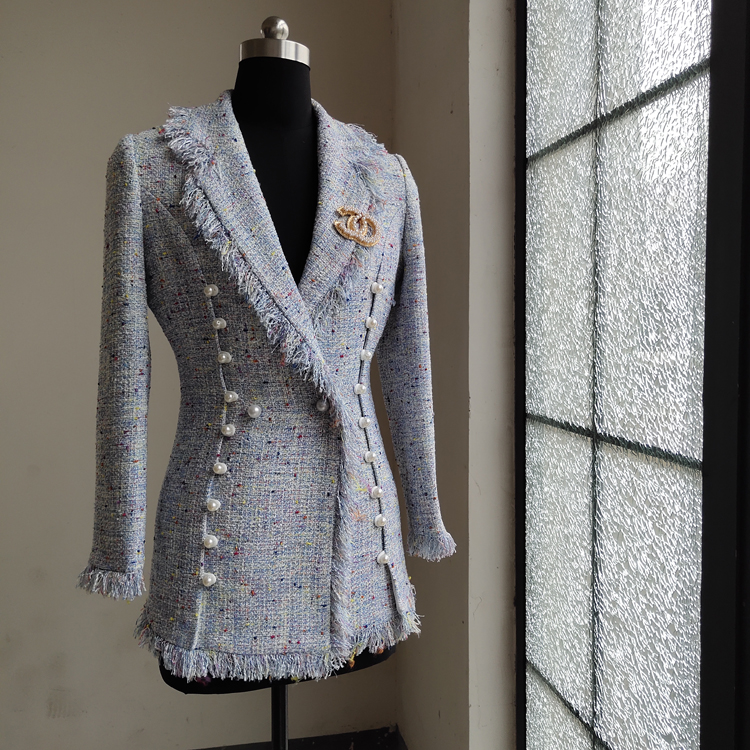 New Spring   Summer Outerwear   Star S Similar Small Fragrance Elegant Famous Suit Collar Tweed Short Outerwear Flow