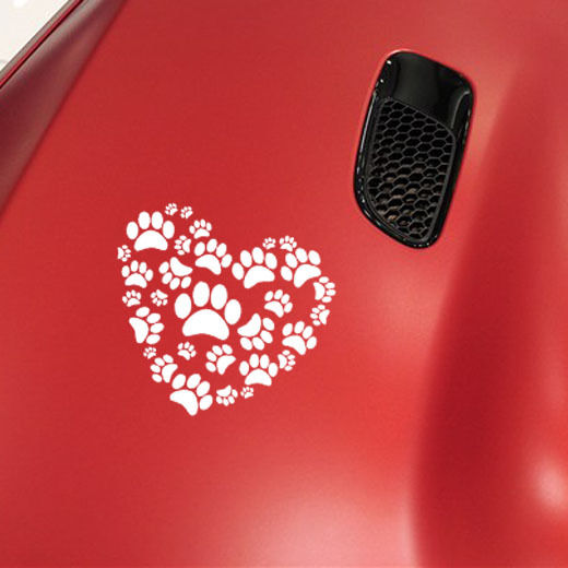 Hot Selling Car Decal Dog Paw Print On Your Heart Car Sticker Vinyl Car Mural For Art Car Body Decoration Y-479