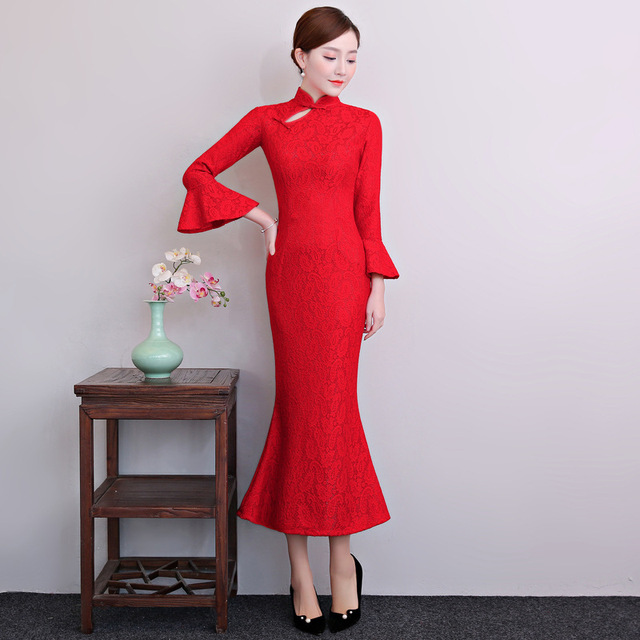 New Arrival Red Female Lace New Chinese Traditional Dresses Flower Qipao Mandarin Collar Slim Sexy Cheongsam Plus Size S-3XL