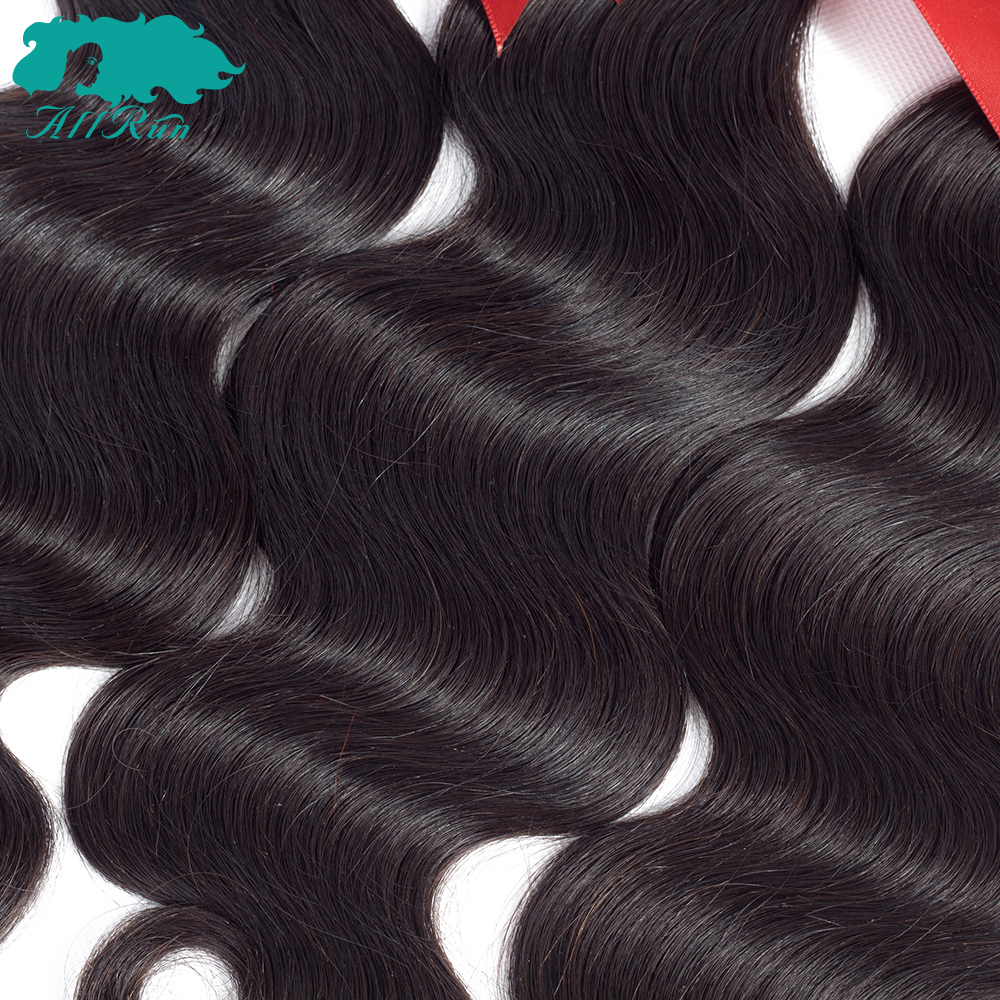 Allrun Peruvian hair Body Wave Human Hair Natural color 3 pieces Bundles With Lace Frontal Natural Color Non Remy hair 8-24inch