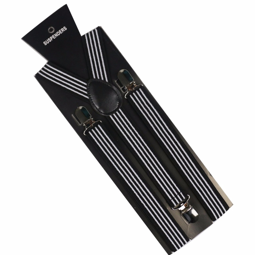 Winfox Fashion Adult Clip-on Braces Elastic Adjustable Womens Mens Black And White Striped Suspenders
