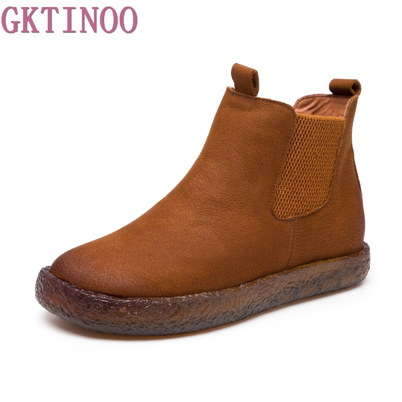 Negro Cuero Vintage Mujeres Tobillo Hecho A De Mano Casuales Dama Las Botas marrón Planos Cuero Zapatos Otoño Retro xHfBagqw1x