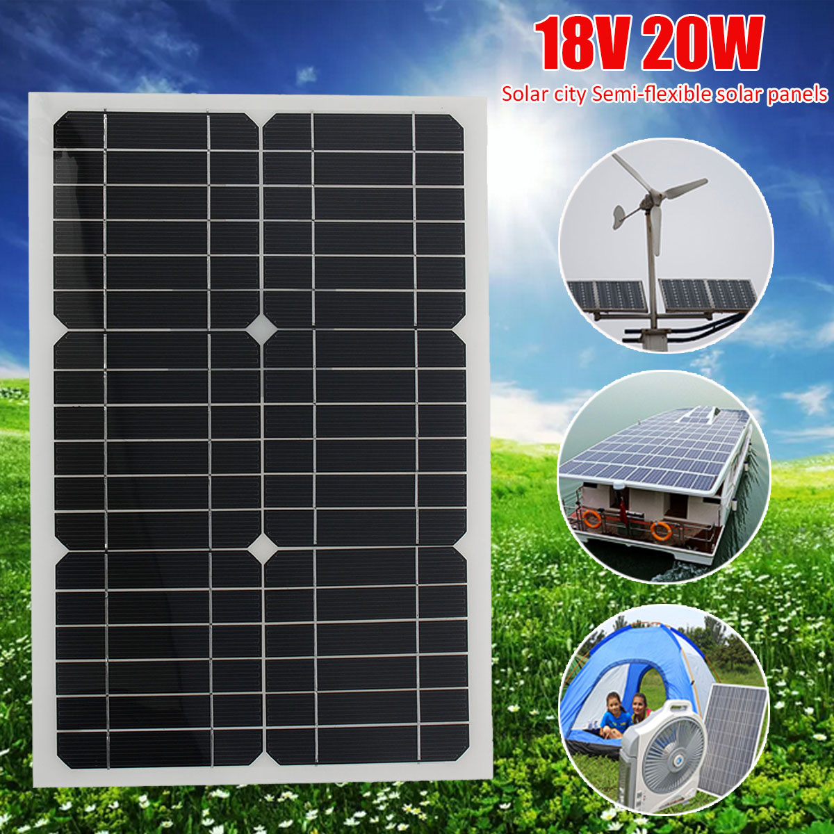 LEORY 20W 18V Semi Flexible Light Weight Solar Panels Portbale DIY Solar Panel With 3 meter Cable For Car Battery diy photovoltaic panels durable 20w solar cells charging 18v solar panel