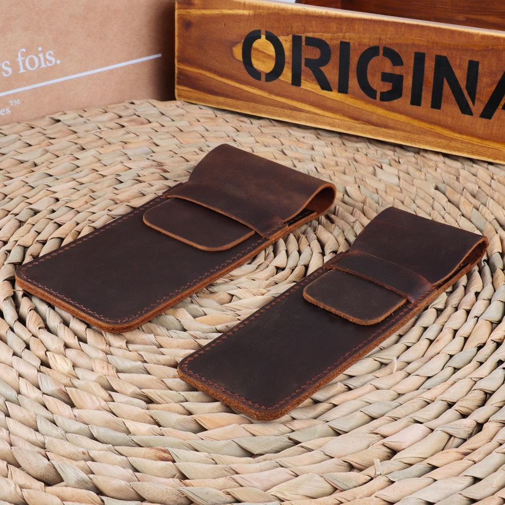 Leather Pen Holder Brown Fountain Pen Pouch Pencil Holder Handmade Ballpoint Pen Protective Sleeve Cover For Office College Univ 3