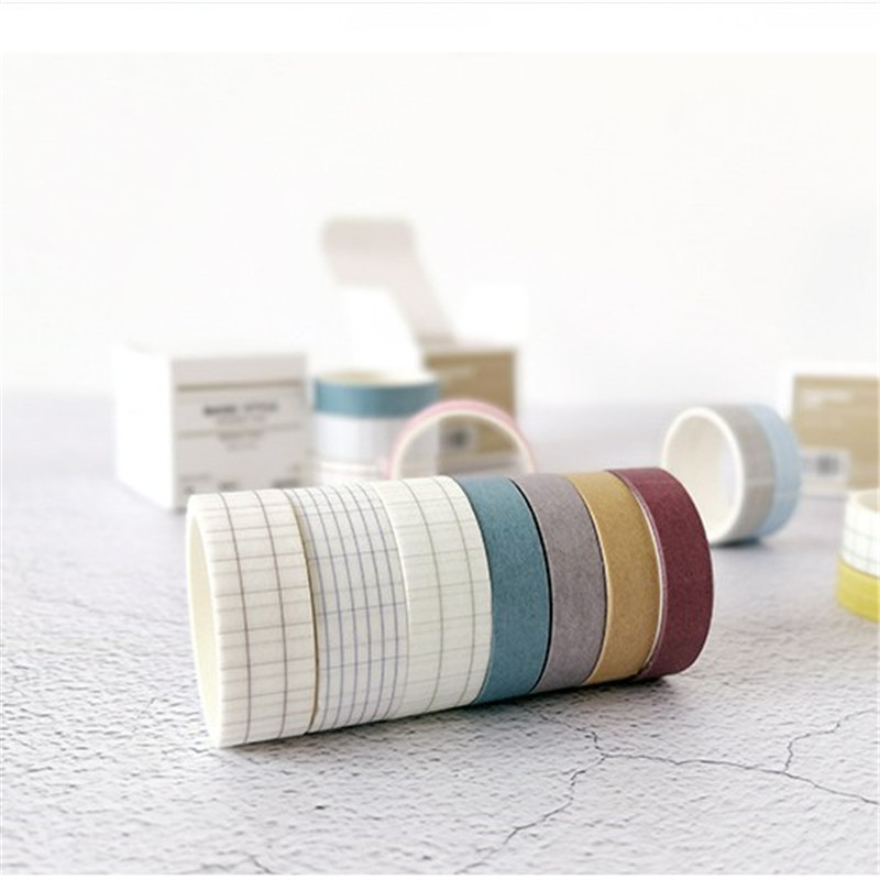 YOUE SHONE 4Pcs Boxes Washi Masking Tapes Basic Style Grid Solid Color Adhesive Tape Set DIY Hand Account Stationery Decoration in Office Adhesive Tape from Office School Supplies