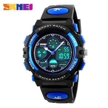 SKMEI Sports Children Watches Kids For Girls Boys Military Waterproof Wristwatches Dual Display LED Digital Quartz Watch Маникюр