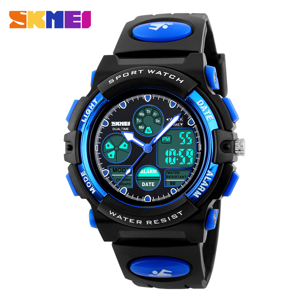 SKMEI Sports Children Watches Kids For Girls Boys Military Waterproof Wristwatches Dual Display LED Digital Quartz
