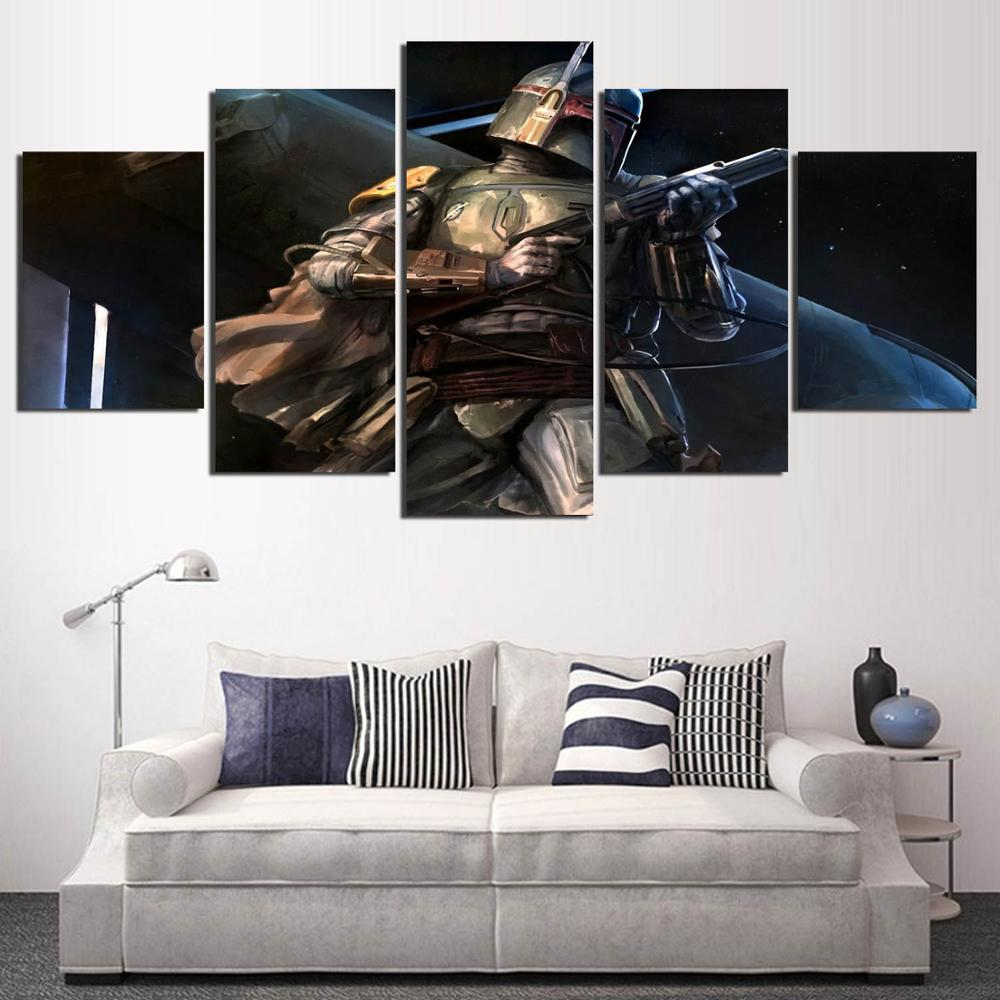 Popular Movie Poster Star Wars 5 panels Canvas Painting Wall Art for Living room wall HD Print Modular Battlefield YK-440