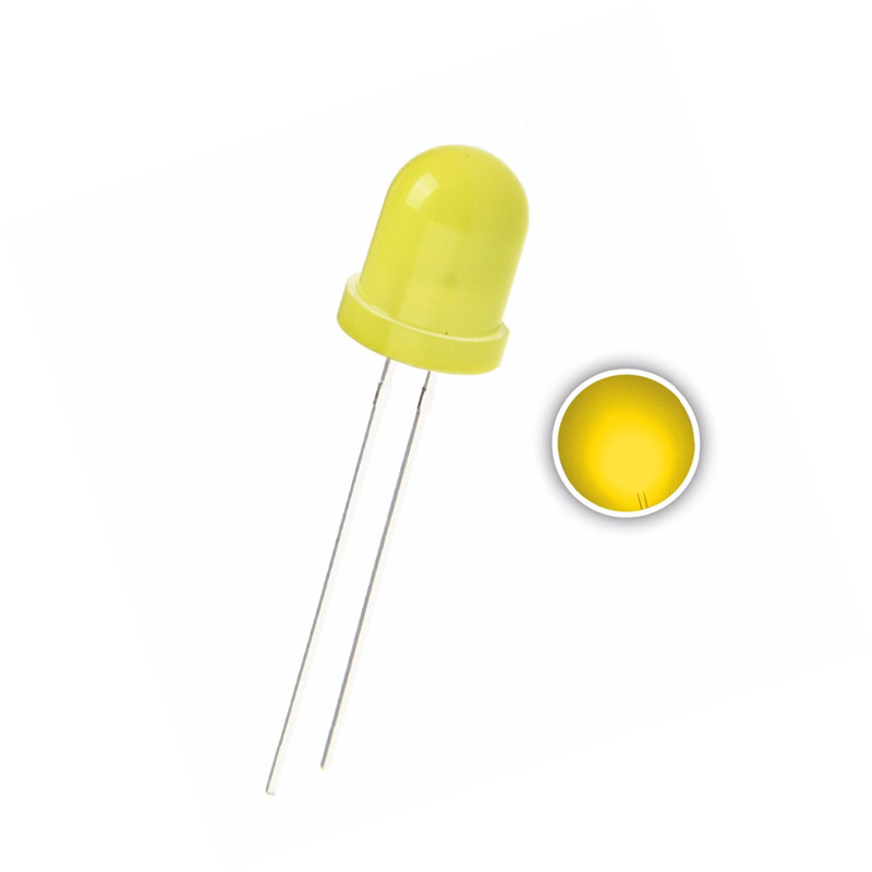 10 x Yellow Diffused 10mm LED Light Bulb