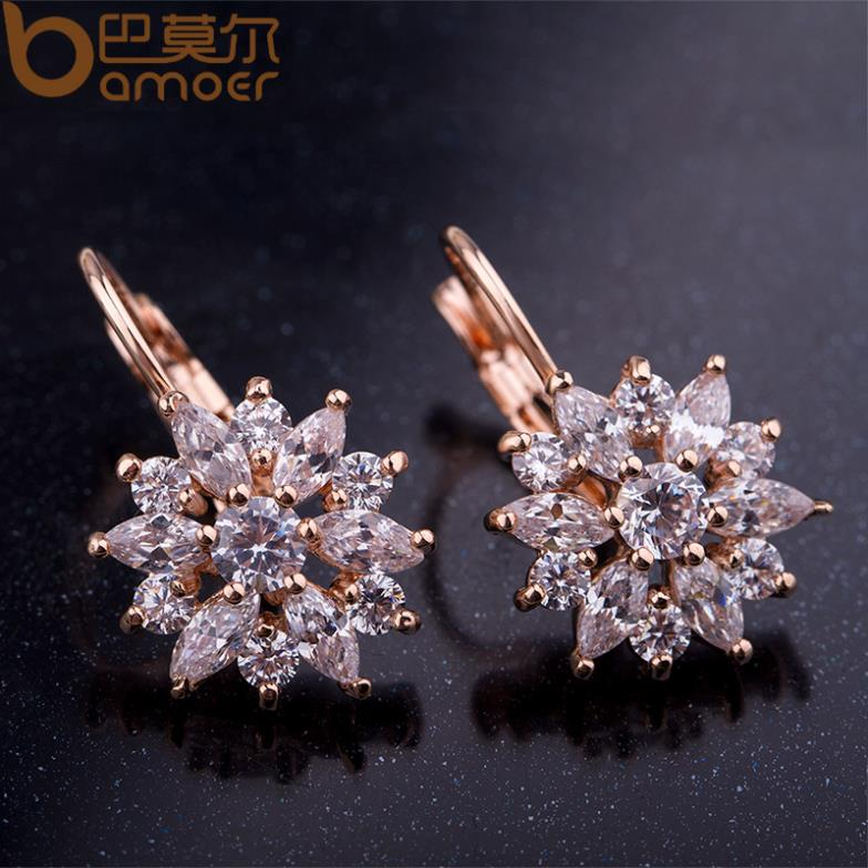 Bamoer 3 Colors Luxury Gold Color Flower Stud Earrings With Zircon Stone