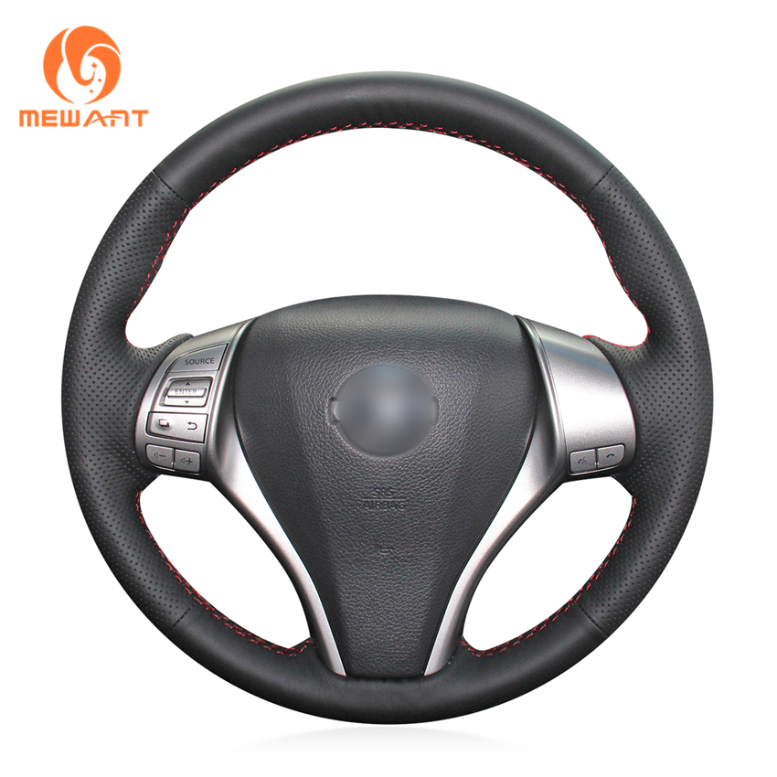 MEWANT Black Genuine Leather Car Steering Wheel Cover for Nissan Teana 2013-2018 Altima 2013-2018 X-Trail 2014-2017 Qashqai artificial leather car steering wheel braid for nissan teana altima 2013 2016 x trail qashqai rogue custom made steering cover