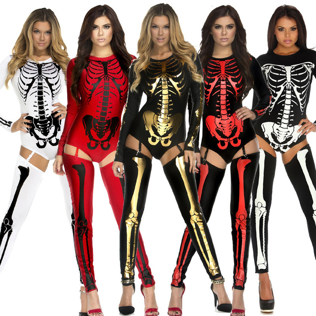 5a389f6da28 Sexy Women Skeleton Costume Snazzy Skeleton Bodysuit with Leg Warmers  Fashion Printed Bone Stage Uniform Halloween Costumes