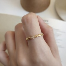 Amaiyllis  Simple 925 Sterling Silver Ring Gold Color Zircon Hollow Braided Design Fashion Style Fine Jewelry Female
