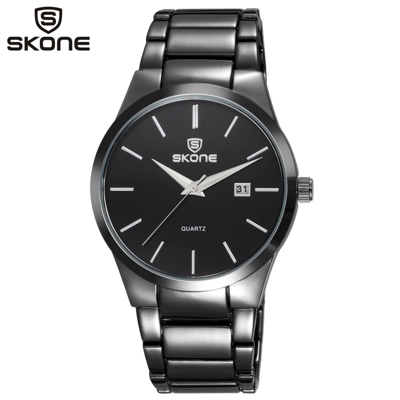 1016cfed15a SKONE Homens de Negócios Relógio Masculino Prata Preto aço Inoxidável Auto  Data Relógios de Pulso de Quartzo Relógios Casuais relogio masculino 7382BG  em ...