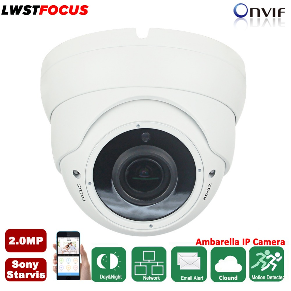 Varifocal Lens 2.8-12mm Dome Vandalproof IP Camera Indoor Outdoor 2.0MP 1080P SONY IMX290 ONVIF IOS Android P2P IP Camera CCTV