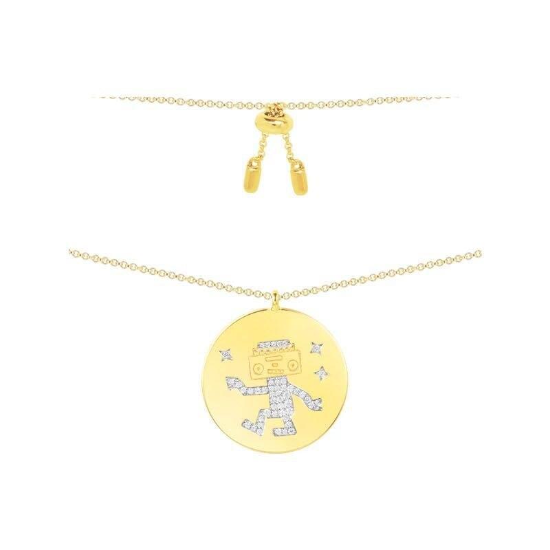 Zoziri 925 Sterling Silver round coin robot Pendant , Women Space series cz zircon robots necklace choker brand Monaco Jewelry недорго, оригинальная цена