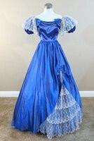 Blue Satin & Pearls Civil war costume renaissance dress satin dres