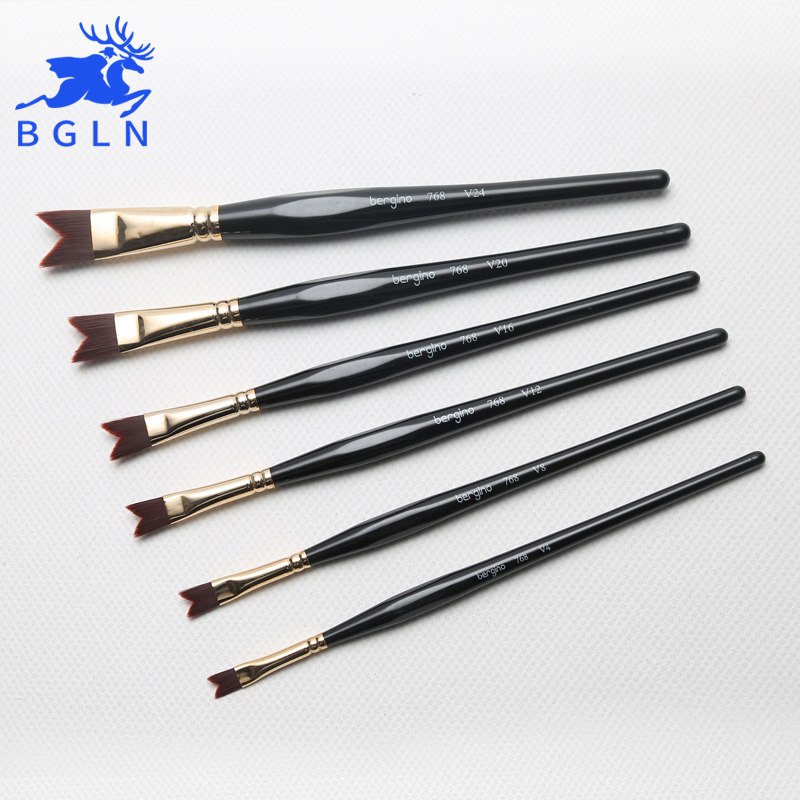 Bgln Different Shape Watercolor Gouache Oil Painting Pen Nylon Hair Wooden Handle Acrylic Drawing Brushes Art Supplies 719 768