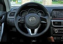 Для Mazda CX5 CX-5 Фортепиано Черный Руль ABS Хромированные декоративные Крышки обрезать 2 шт. 2013 2014 2015