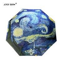 Как дождь Ван Гог живопись маслом зонтик дождь Для женщин бренд paraguascreative искусств зонтик женский солнца и дождя зонты YHS01