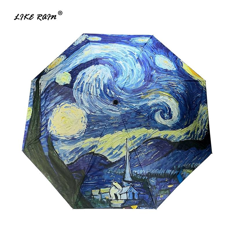 LIKE RAIN Van Gogh Oil Painting Umbrella Rain Women Brand ParaguasCreative Arts Parasol Female Sun And Rain Umbrellas YHS01