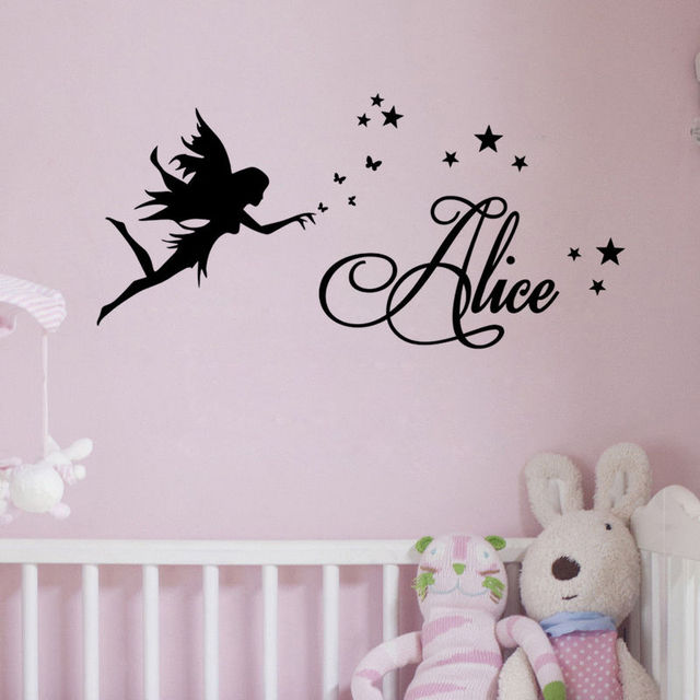 Fairy Star Custom Any Name Girls Children Room Art Decoration Wall - Vinyl wall decals removable