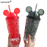 Summer Mickey Water Bottles Large Capacity Straw Cup Water Bottles For Kids Girl School Cold Drink