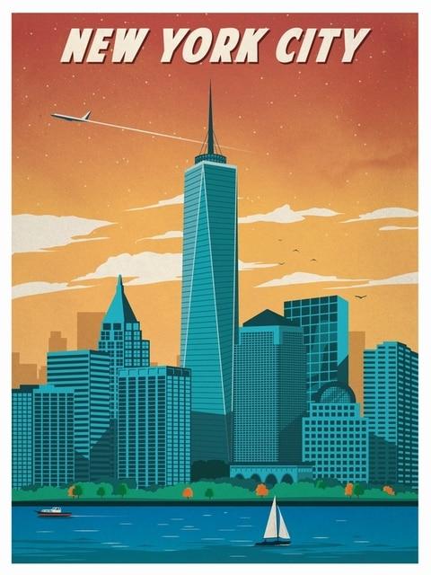 City Scenery Vintage New York Travel Poster Retro