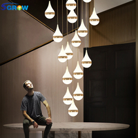 SGROW Water Drop Crystal Chandeliers Art Deco LED Hanging Lamp for Living Room Dining Room Aisle Stairs Lighting Fixture Lampara