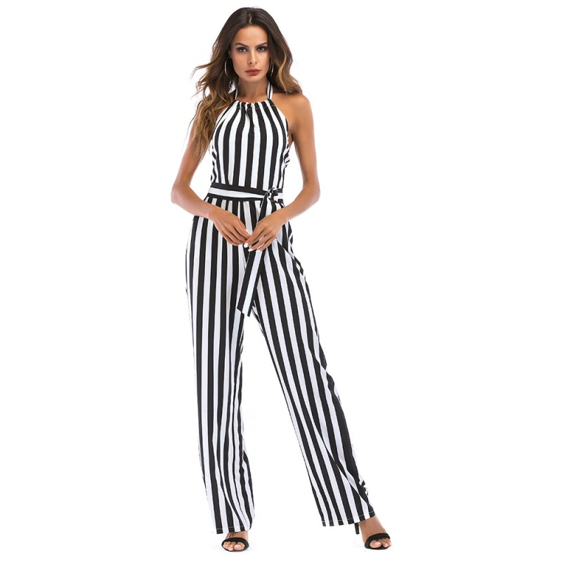 summer casual high waist jumpsuit women backless halter pants plus size rompers womens jumpsuit one piece striped overalls 2252N