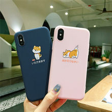 Estilo japonês bonito dog caixa do telefone para iphone XS Max XR X matte TPU soft case para iphone 7 7plus 6 8 6S Plus ultra-fino shell(China)
