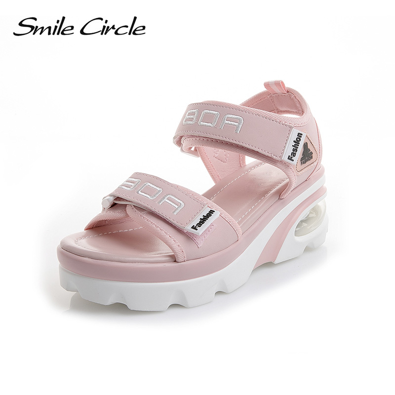 Smile Circle Summer Wedges Sandals Women Comfort air cushion casual shoes For women Wedge platform sandals sandalias mujer 2018 instantarts women flats emoji face smile pattern summer air mesh beach flat shoes for youth girls mujer casual light sneakers