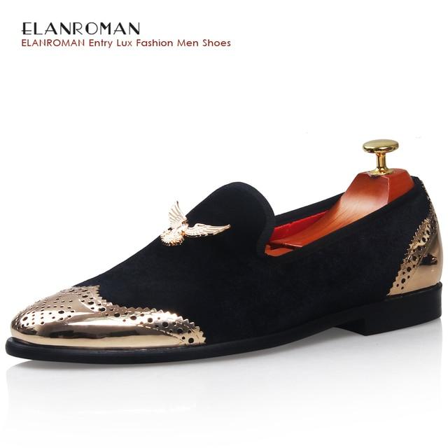 Los hombres Zapatos de los holgazanes de Metal Superior y Posterior de Los Hombres Zapatos de Los Hombres de Moda terciopelo zapatos mocasines con eagle hebilla casual zapatos de vestir planos de los hombres