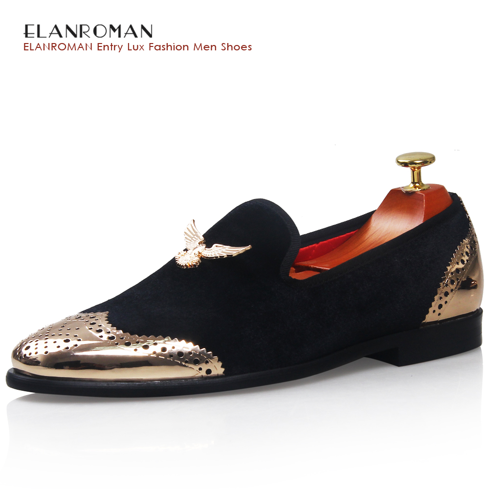 men loafers Metal Shoes Top and Back Men Shoes Fashion Men Velvet Loafers Shoes with Eagle