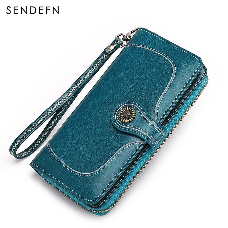 2017 New Vintage Style Women Clutch Large Capacity Wallet Split Leather Wallet Female Long Wallet Women Zipper Purse Flower Hard