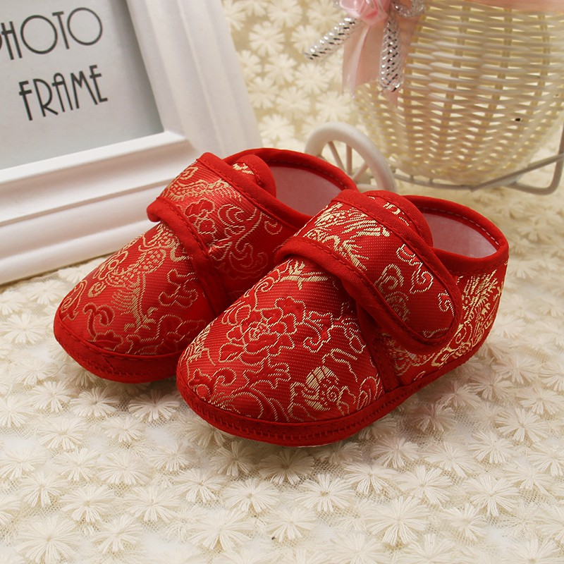 Baby 0-18M First Walker Baby Chinese Style Soft Bottom Shoes Retro Golden Floral Embroidery Prewalker