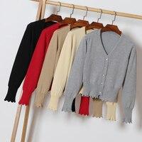 ed8c4b2409 Size M 2XL Women Knitted Short Cardigan Coat Autumn Spring V Neck Full  Sleeve Knit Basic
