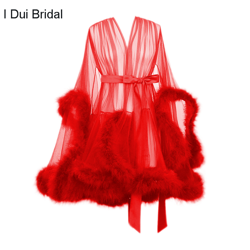 Short Feather Robe Dressing Gown Bridal Boudoir Sheer Robe Tulle Illusion Birthday Feather Robe Costume