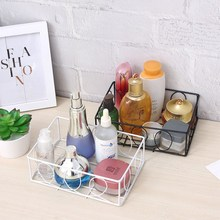 Nordic Style Metal Wire Storage Basket Cosmetic Organizer Holder Home Office Desk Toiletry Collection Bathroom Shelf