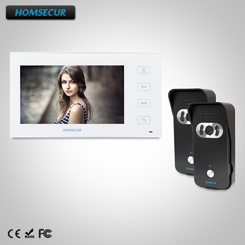 HOMSECUR 7 Wired Video&Audio Smart Doorbell+White Monitor for Apartment : TC021-B +TM704-W HOMSECUR 7 Wired Video&Audio Smart Doorbell+White Monitor for Apartment : TC021-B +TM704-W