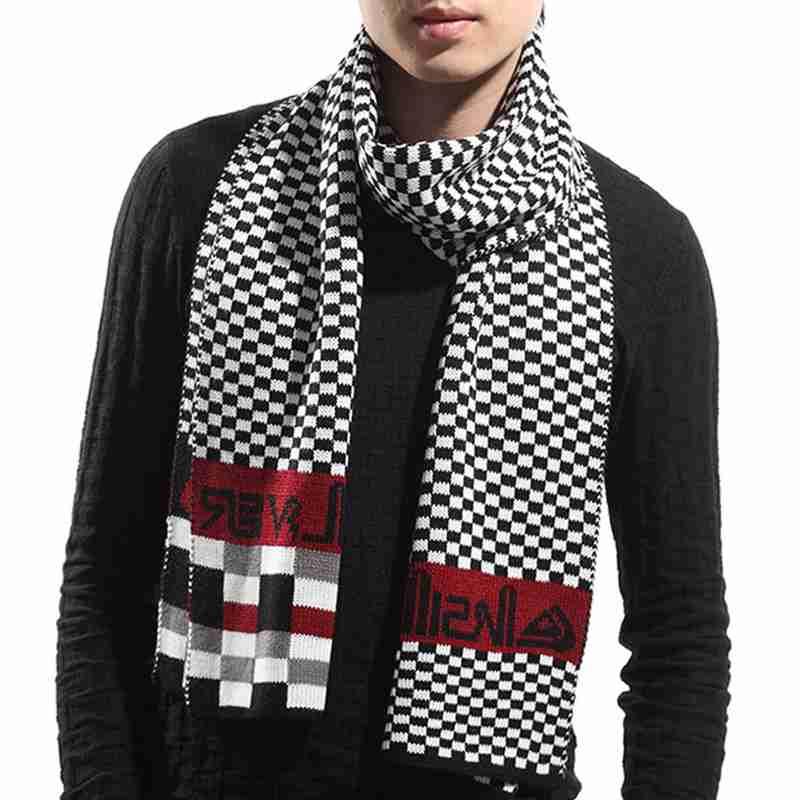 Men Scarf Winter New Brand Plaid font b Tartan b font Foulard Homme Trendy Letter Bufandas