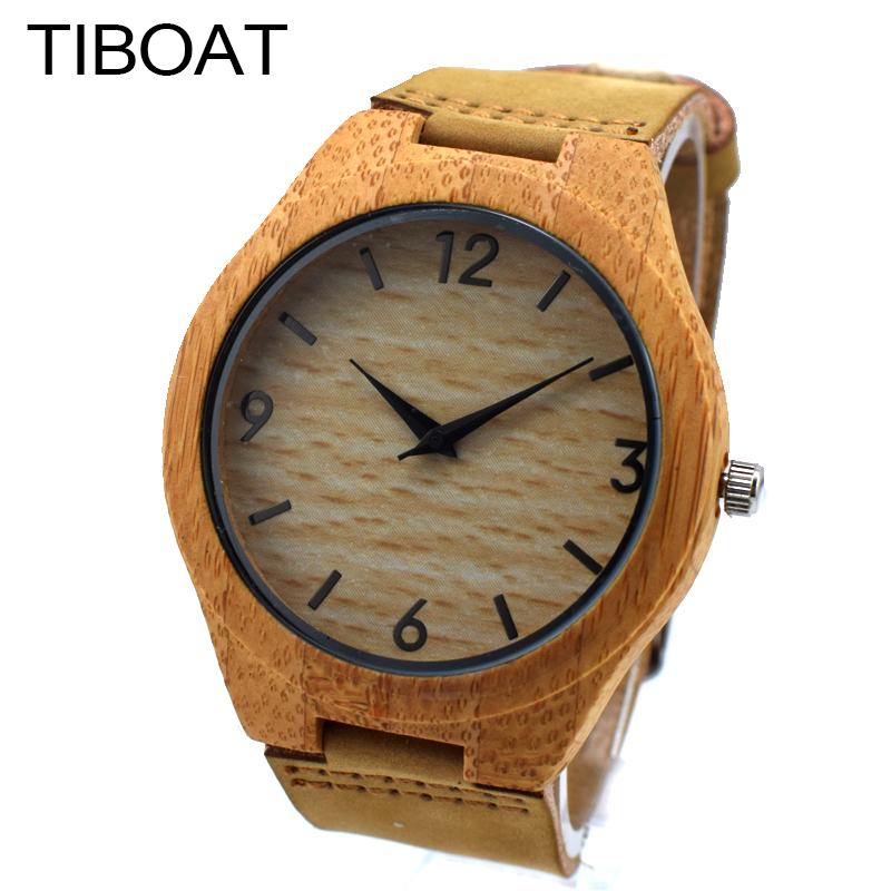 TIBOAT 2017 New Arrival Unisex Wood Watches For Women Fashion Gift Genuine Leather Quartz Bamboo Watch Men Reloj de madera